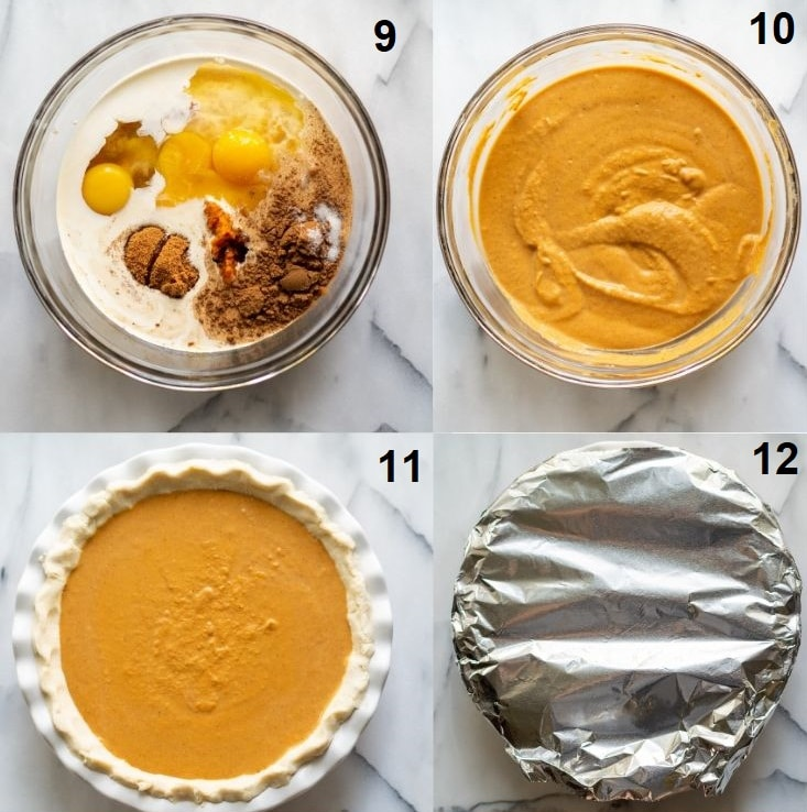 a collage of four photos showing the last four steps on how to make gluten free pumpkin pie