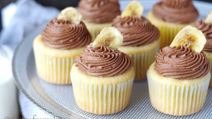 tray of gluten free banana cupcakes with nutella frosting