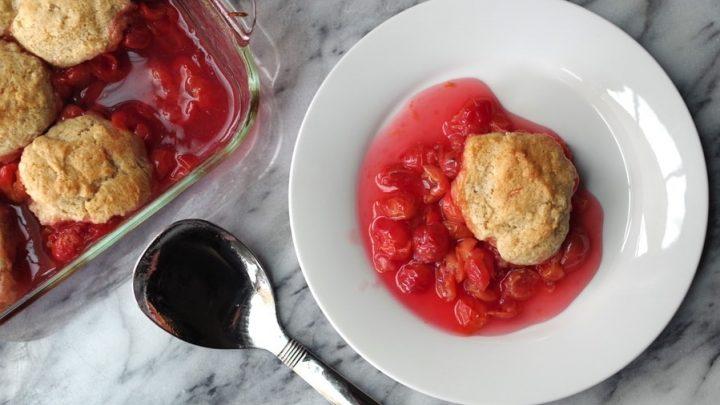 plate of gluten free cherry cobbler