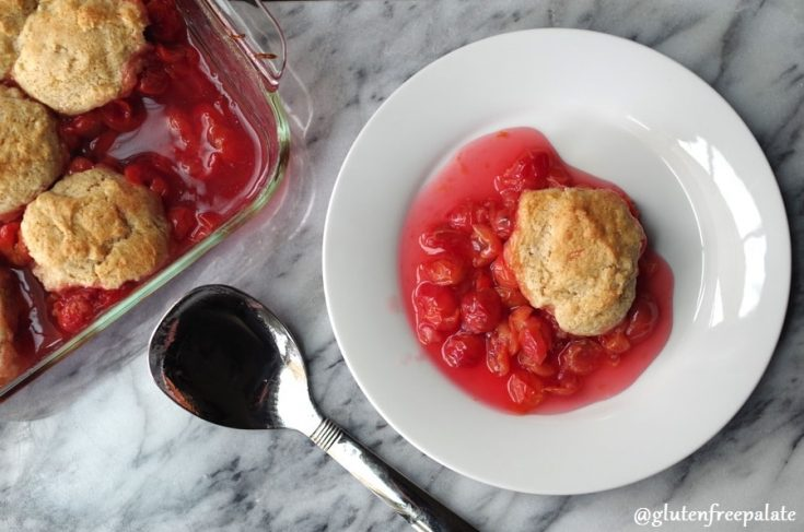 Simple and sweet, this Gluten-Free Cherry Cobbler made with tart cherries and a tender cake like topping is a quick dessert for someone who has a sweet tooth and loves cherries. This gluten free cherry cobbler recipe is simple to make and you can make this gluten free cherry cobbler using canned cherries or fresh cherries.