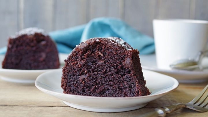 side view of a slice of choclate bundt cake