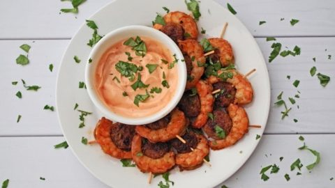 top view of sausage and shrimp appetizer