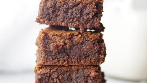 stack of four gluten free hazelnut brownies