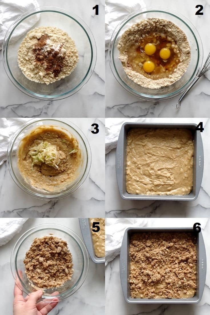 a collage of six images showing the steps to make paleo apple cake