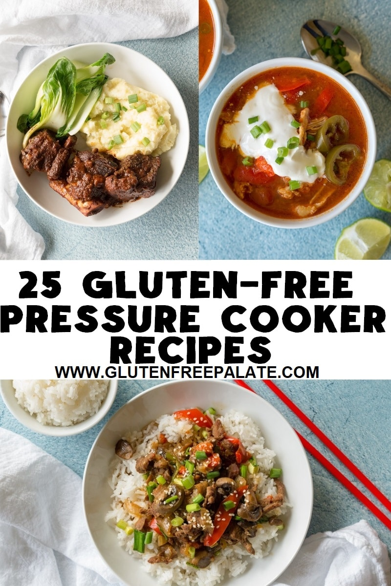 pinterest pin collage of three dishes with the words 25 instant pot pressure cooker recipes written in the center