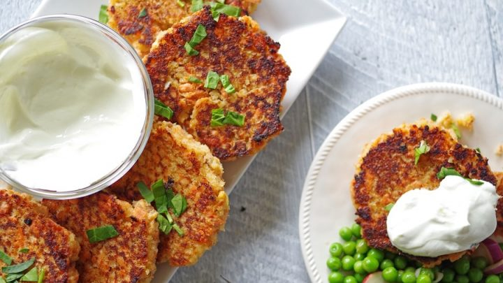 top view of teriyaki salmon cakes