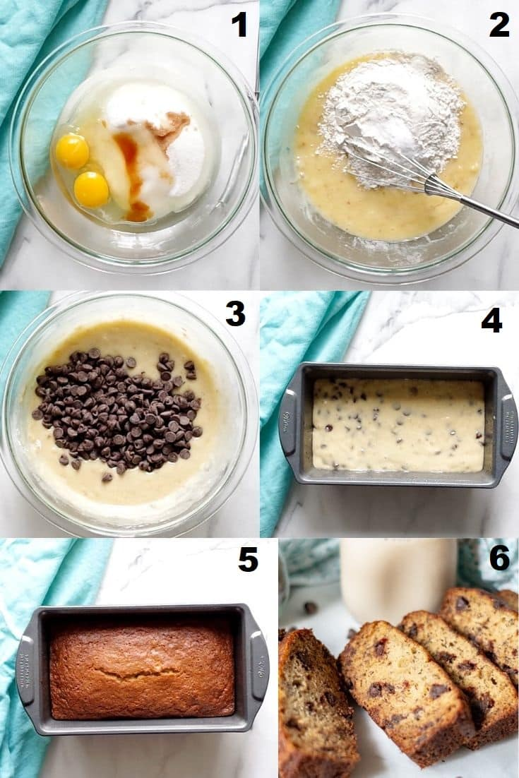 a collage of photos showing the six steps on how to make gluten free banana bread