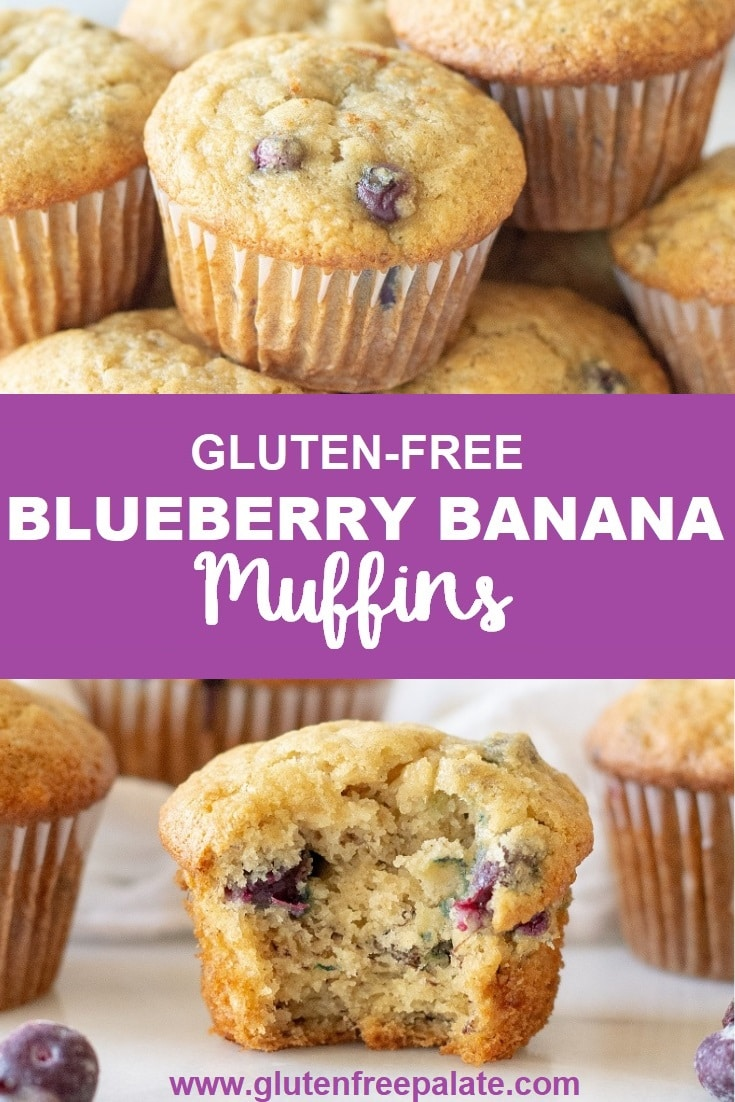 A gluten-free blueberry banana muffin on a white piece of marble with a bite taken out.