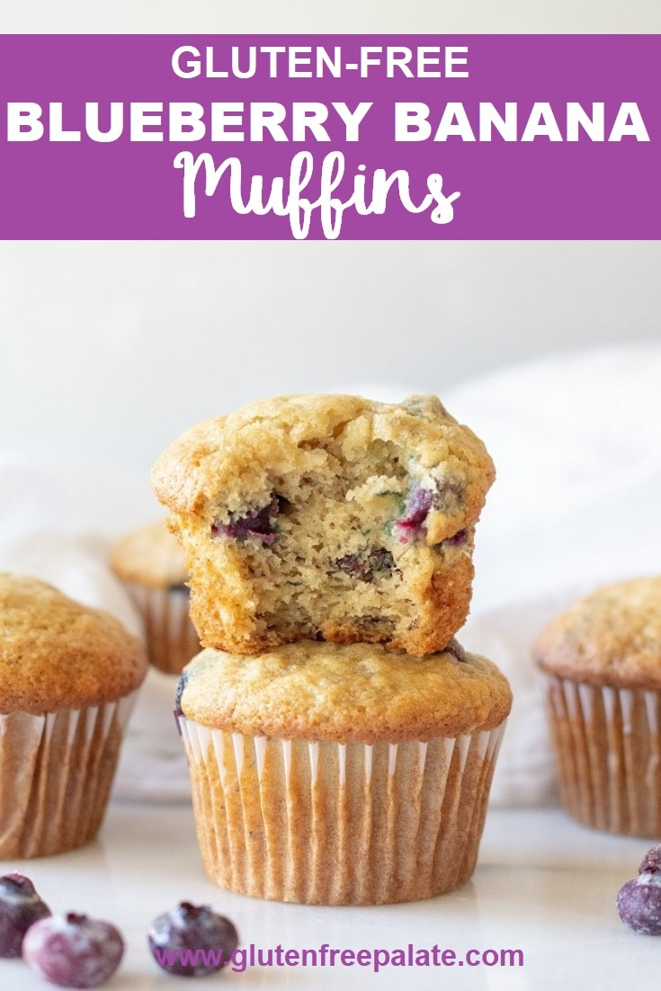 A gluten-free blueberry banana muffin with a bite taken out stacked on a muffin with the words gluten free blueberry banana muffins in text at the top