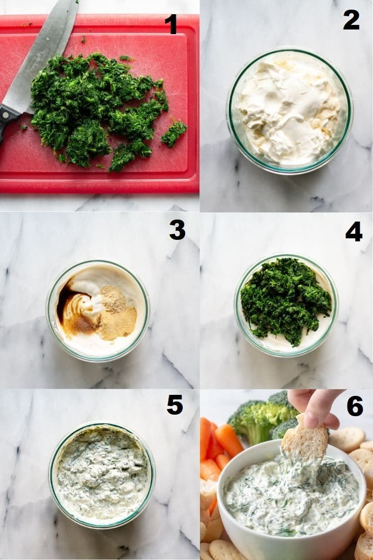 a collage photos of six numbered steps showing how to make spinach dip, the numbered photos match the numbered steps below