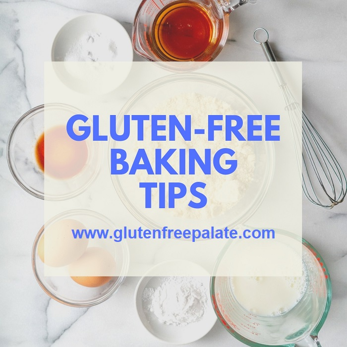Words gluten-free baking tips over bowls of ingredients.