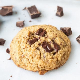 Paleo Chocolate Chip Cookie on a white background.