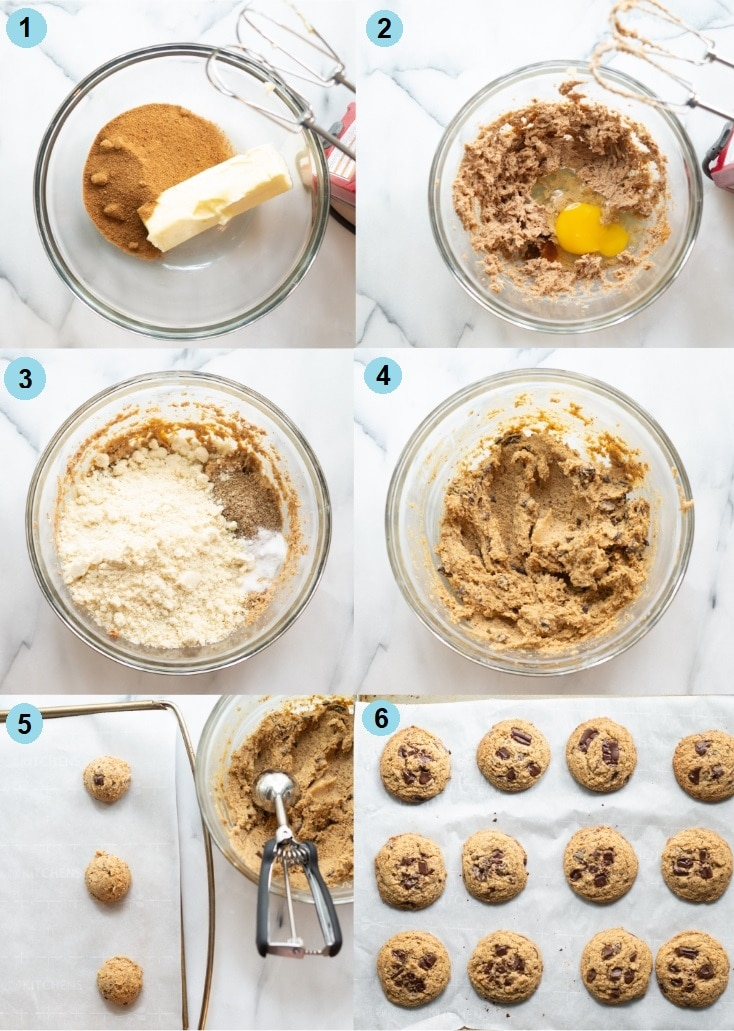 a collage of six numbered images showing steps to make paleo chocolate chip cookies, the numbered photos match the numbered steps below