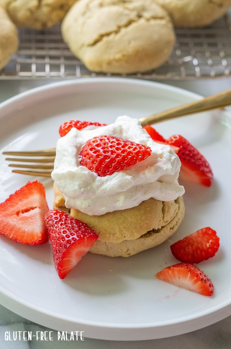 Paleo Strawberry Shortcake on a white plate.