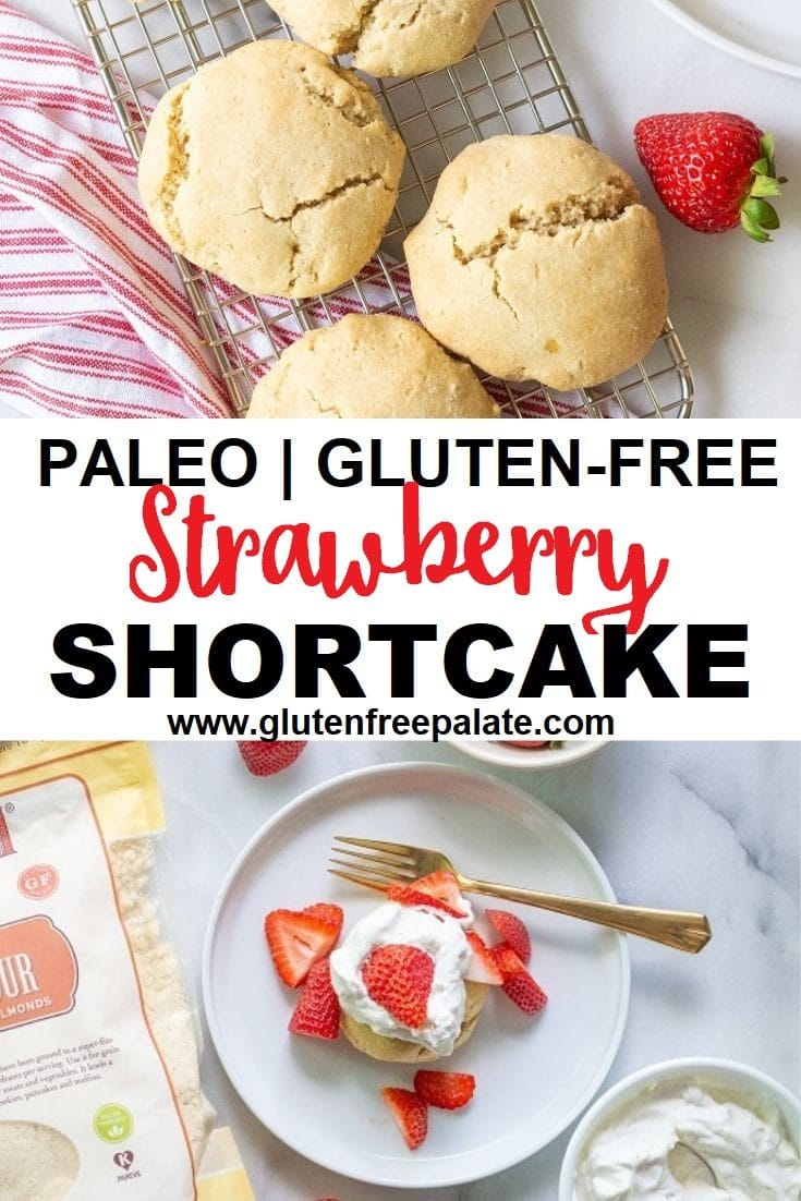 Easy almond flour shortcake topped with fresh strawberries and whipped cream, you're going to love how easy this Paleo Strawberry Shortcake recipe is.