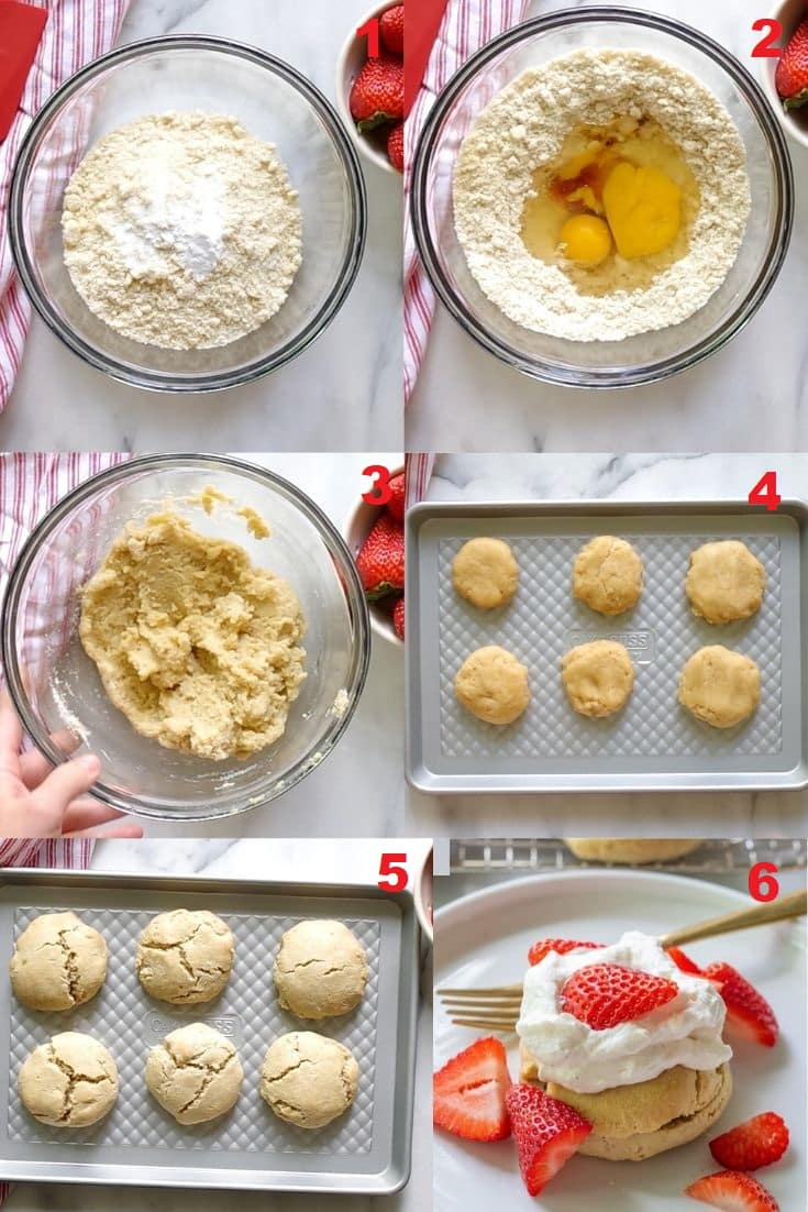 a collage of six numbered photos showing how to make paleo shortcakes