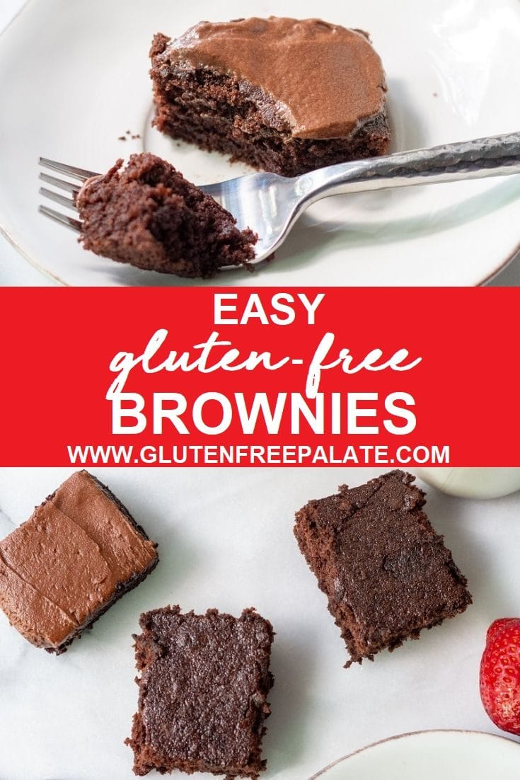 Gluten-Free Brownies that are rich, chocolaty and cake-like. I've included instructions for making thick gf brownies or frosted gluten free brownies. You can enjoy this gluten free brownies recipe as is or if you can't have dairy you can make them gluten free dairy free brownies.