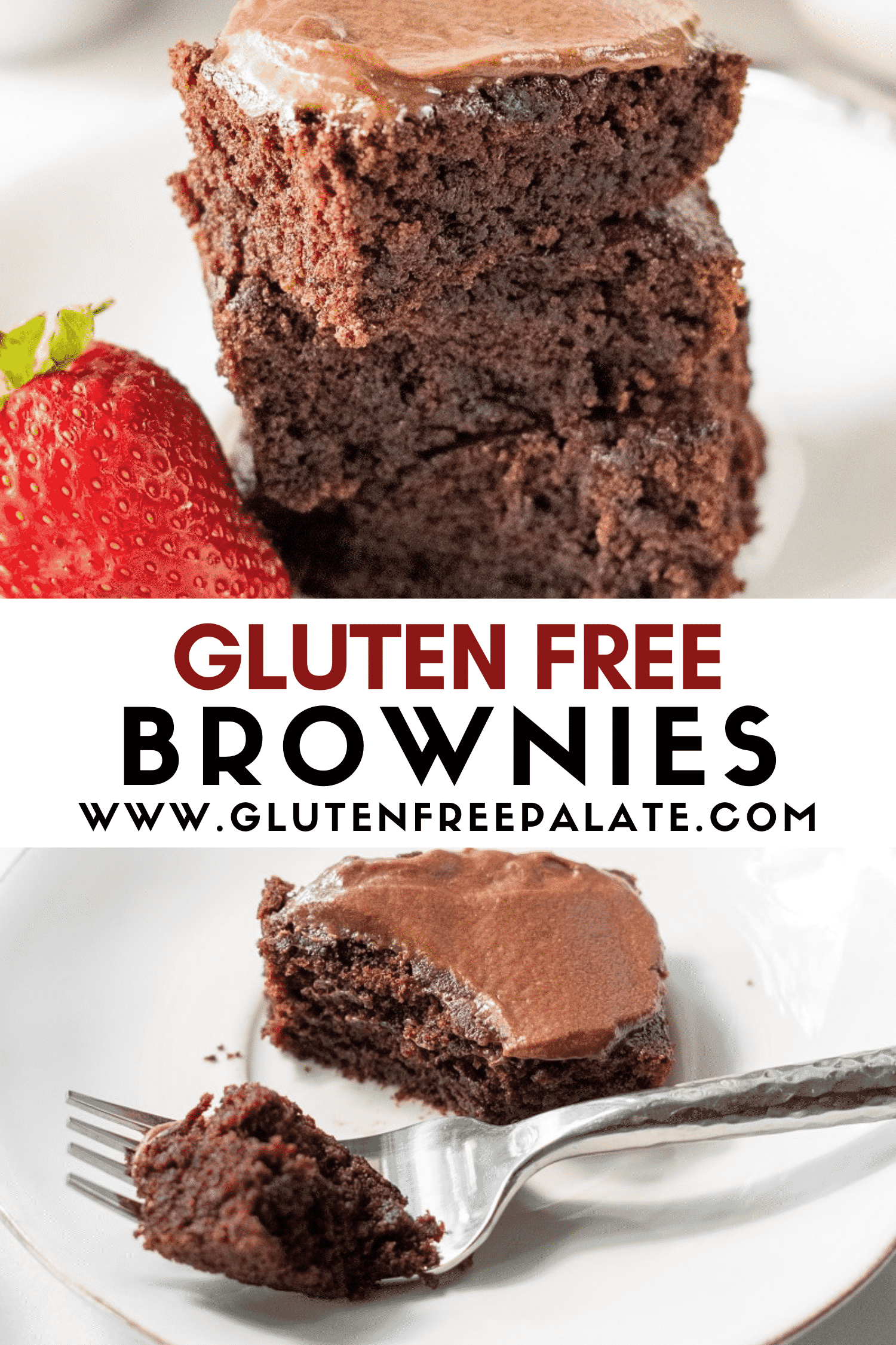 image of gluten free brownies with text overlay in center