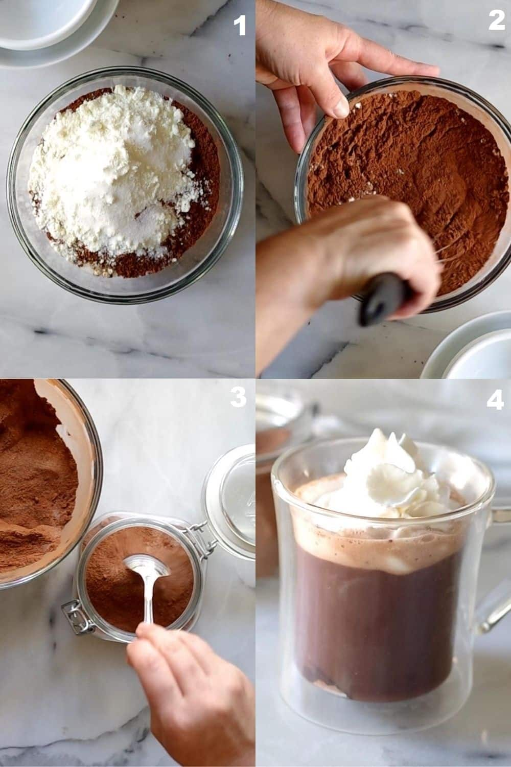 a collage of four photos showing how to make gluten free hot cocoa
