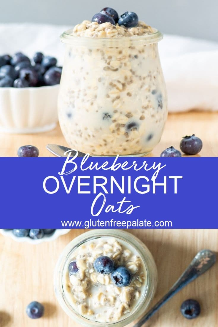 blueberry overnight oats in a jar, the words blueberry overnight oats written in the center, and a top down view of oats with blueberries on the bottom