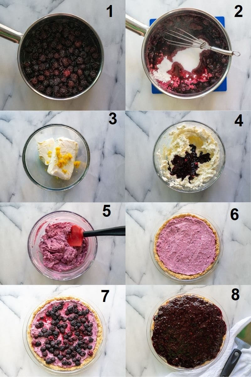 a collage of eight numbered photos showing the steps for how to make the cream cheese filling for the pie