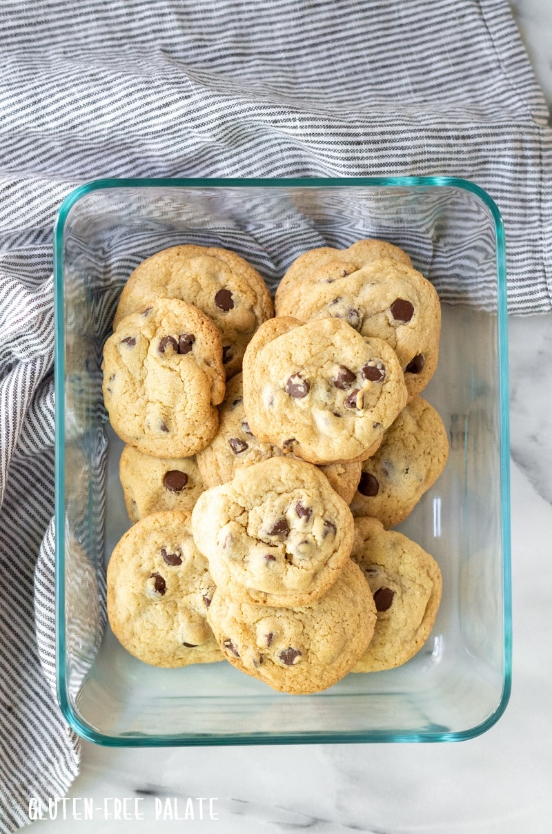 top down view of chocolate chips cookies in a glass container