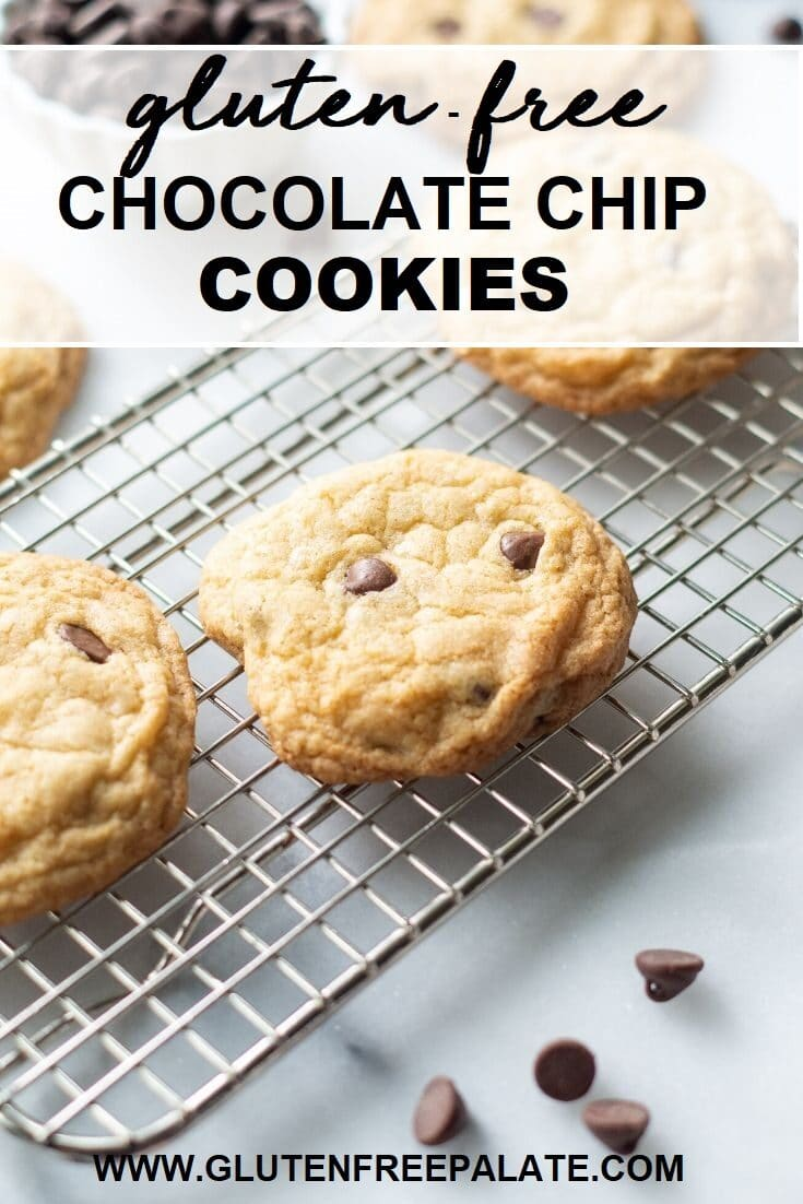 three chocolate chip cookies on a cooling rack with the text overlay gluten fre echocolate chip cookies at the top