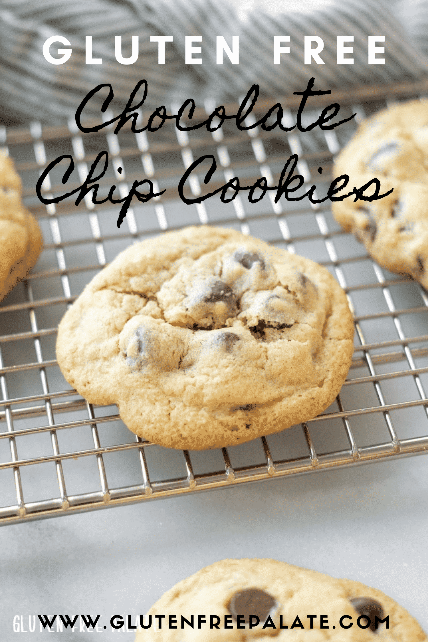 """a single gluten free chocolate chip cookie on a cooling rack, with text overlay stating """"gluten free chocolate chip cookies"""""""