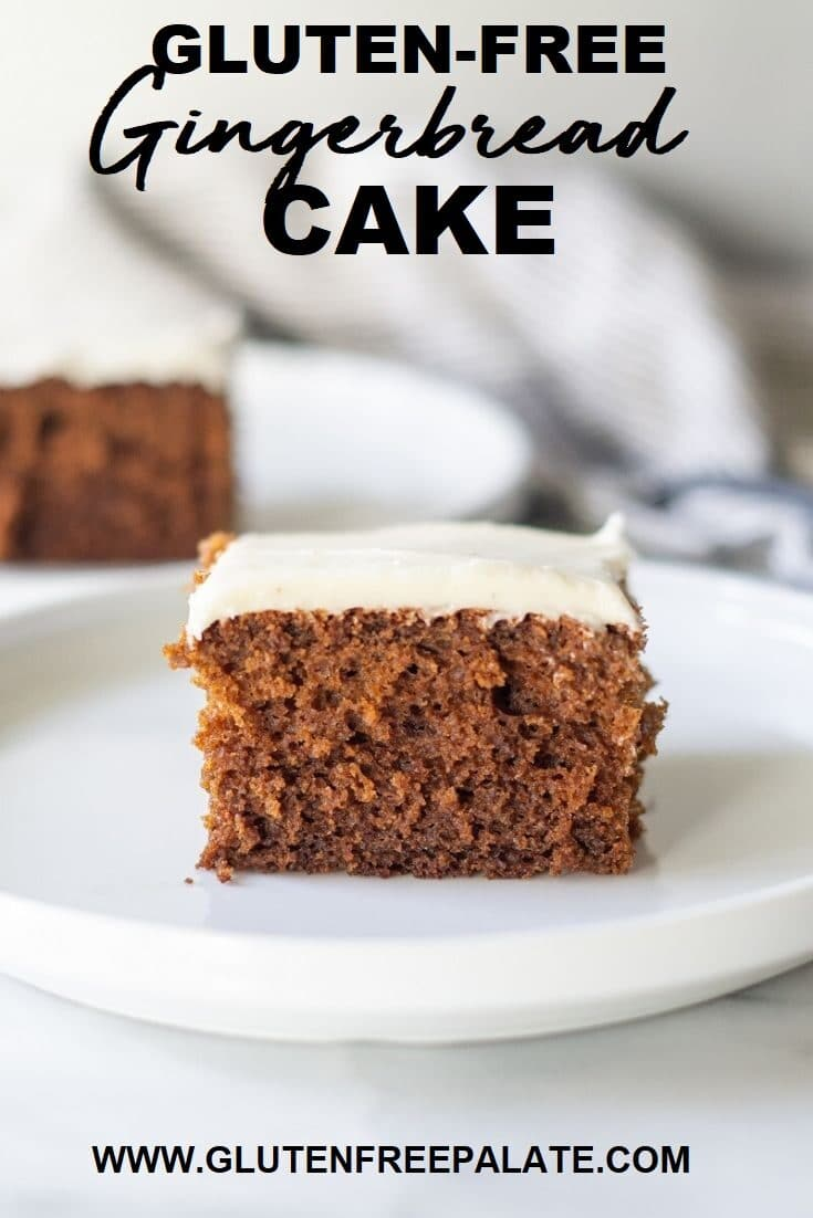 a slice of brown cake with white frosting on a white plate with the words gluten free gingerbread cake as text at the top