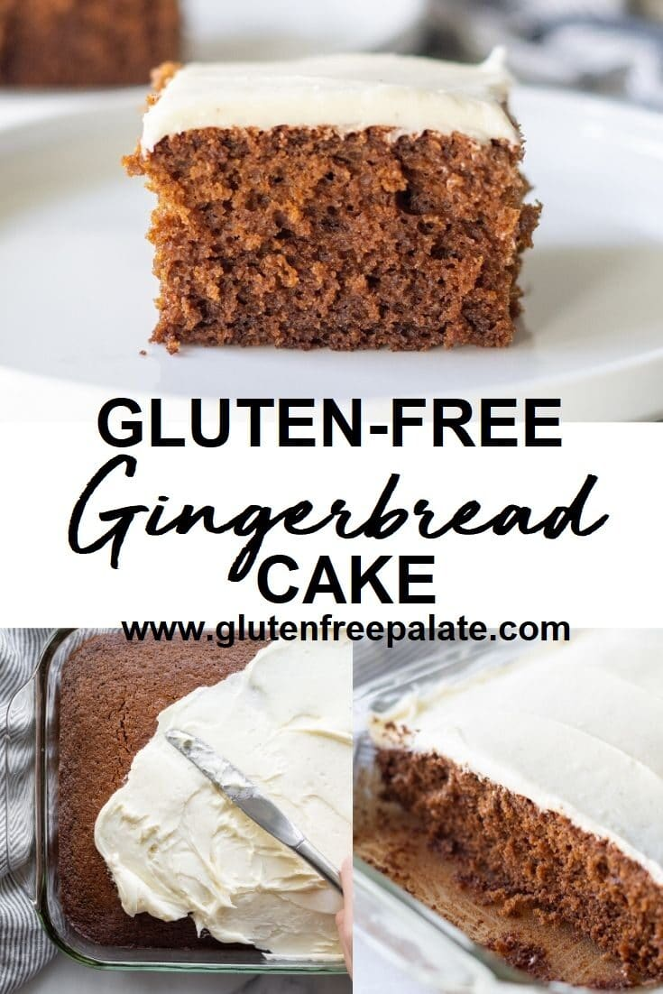 collate of three images of brown cake with white frosting and the words gluten free gingerbread cake in text in the center