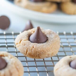 Gluten Free Peanut Butter Blossoms on a cooling rack