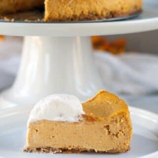 a slice of Gluten Free Pumpkin Cheesecake
