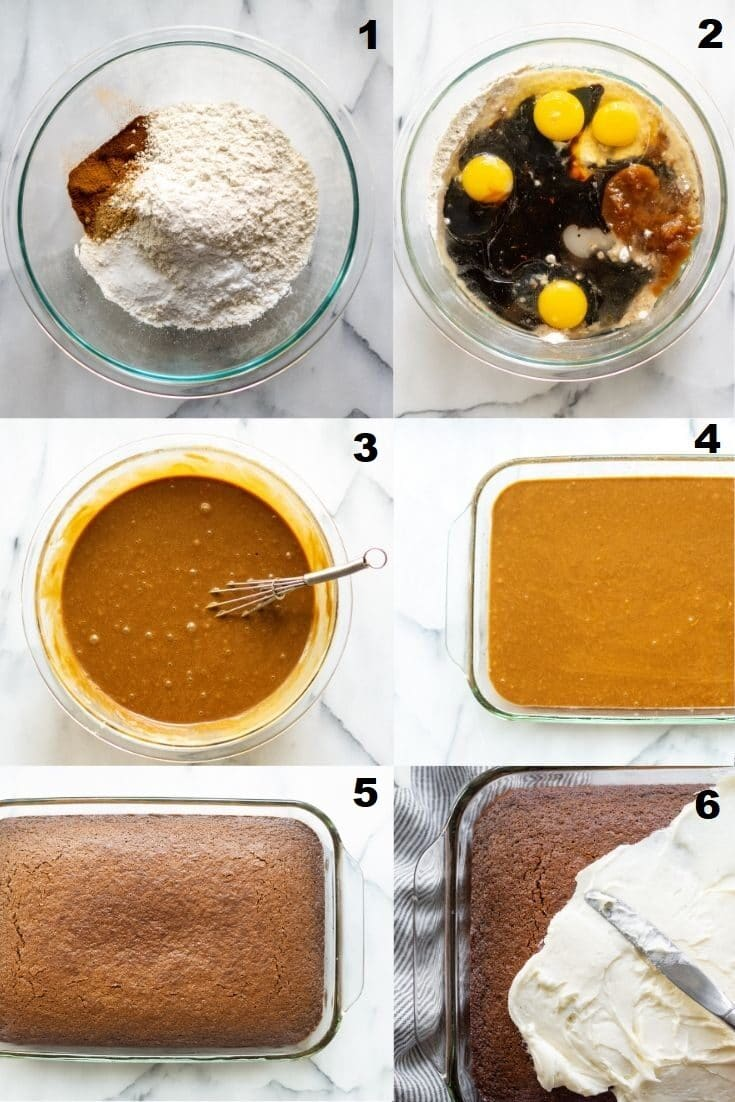 collage photo of steps how to make a gluten free gingerbread cake