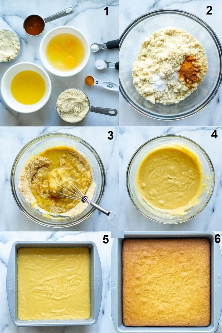 collage of six numbered images showing how to make paleo cornbread, the numbered photos match the numbered text below