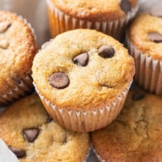 paleo banana muffins with chocolate chips