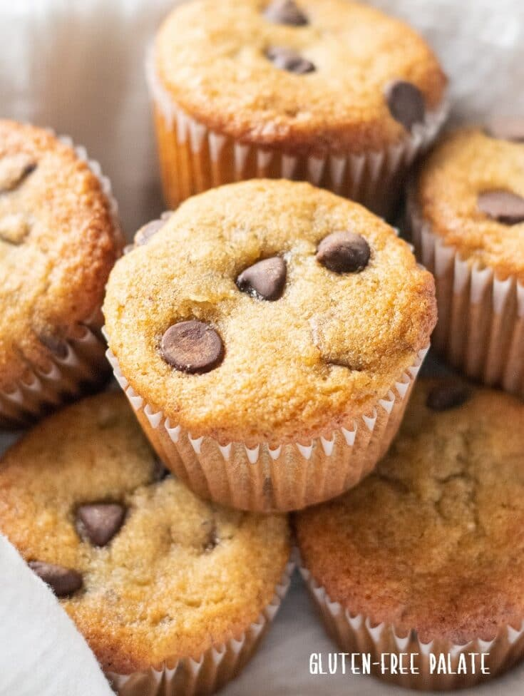 paleo banana muffins with chocolate chips in a white bowl