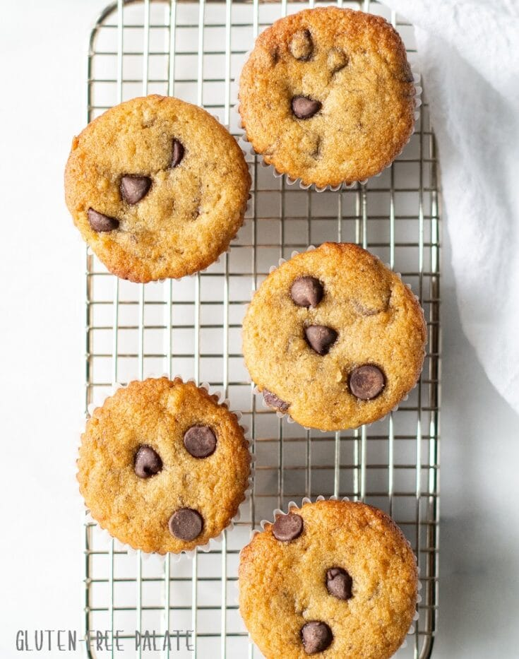 five paleo banana muffins with chocolate chips on a metal cooling rack