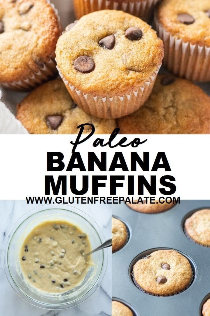 collage of three images with the words paleo banan muffins in the center, image of a round muffin with chocolate chips, image of better in a bowl, image of a cooked muffin in a pan