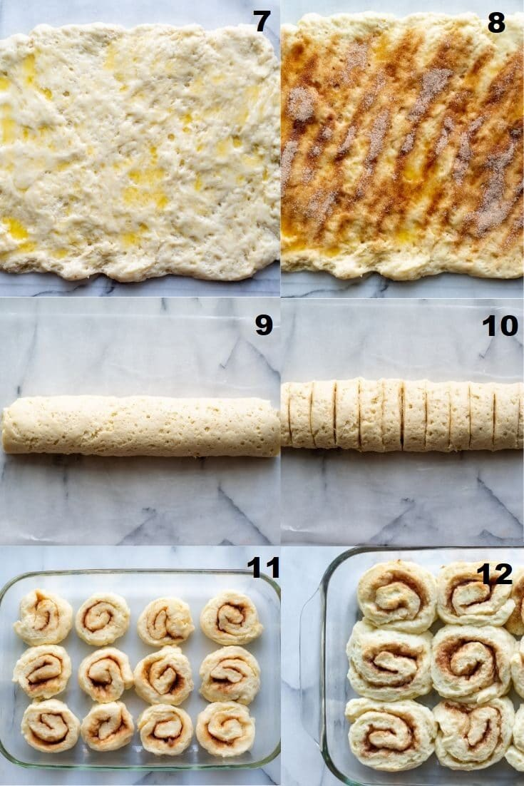 a collage of six numbered photos with steps seven through twelve on how to make gluten free cinnamon rolls