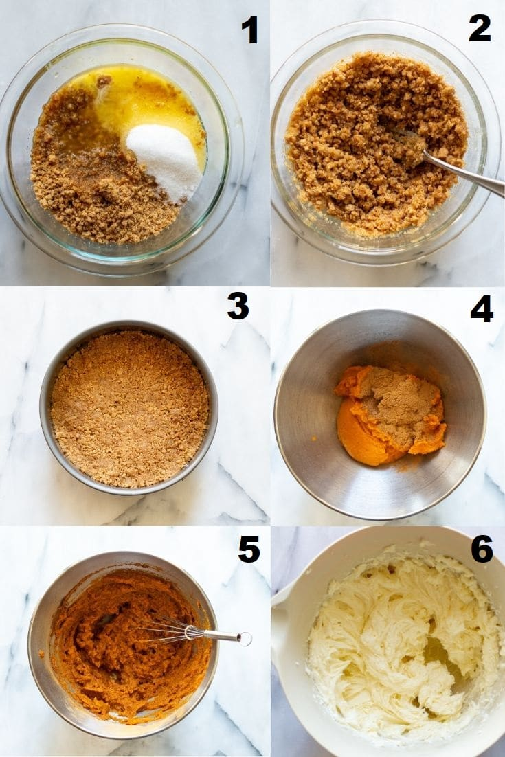 collage of six numbered photos showing how to make gluten free pumpkin cheesecake that match the six steps written below