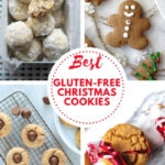 collage of four christmas cookie images, snowball cookies, gingerbread cookie, pb blossoms and gingersnap cookies