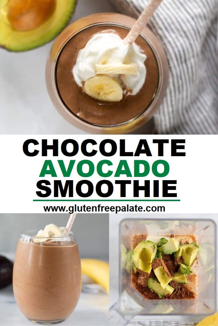 Three close ups of brown smoothie in a clear and a blender jar with the words chocolate avocado smoothie written in the center of them