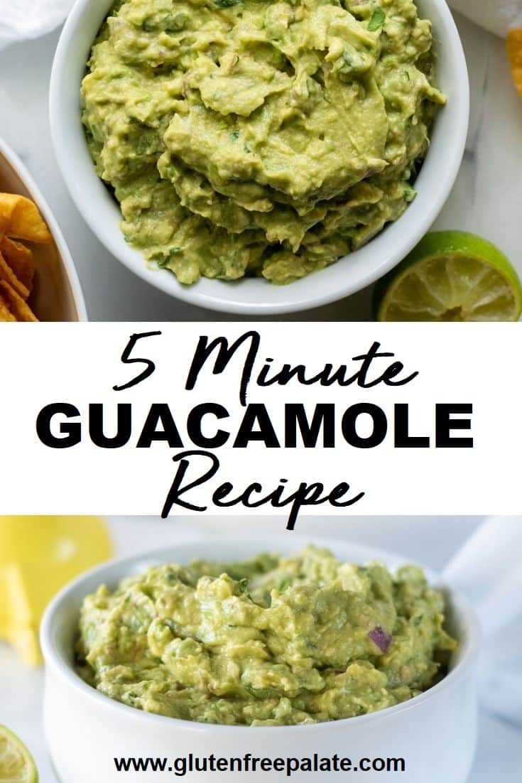 collage of two images of close ups of guacamole with the words 5 minute guacamole recipe written in the center
