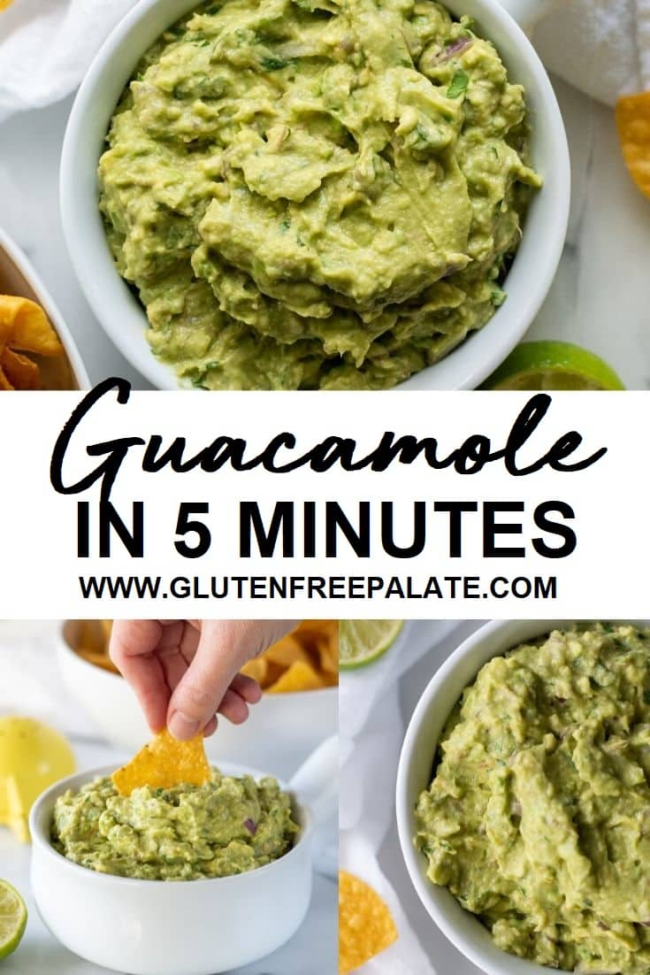 three image close ups of guacamole with the words guacamole in 5 minutes written in the center