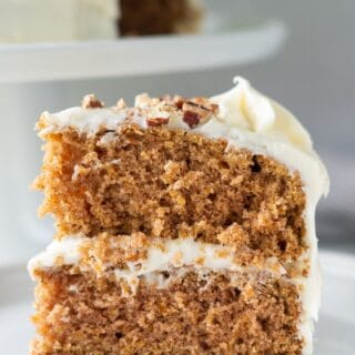 close up of a slice of gluten free carrot cake