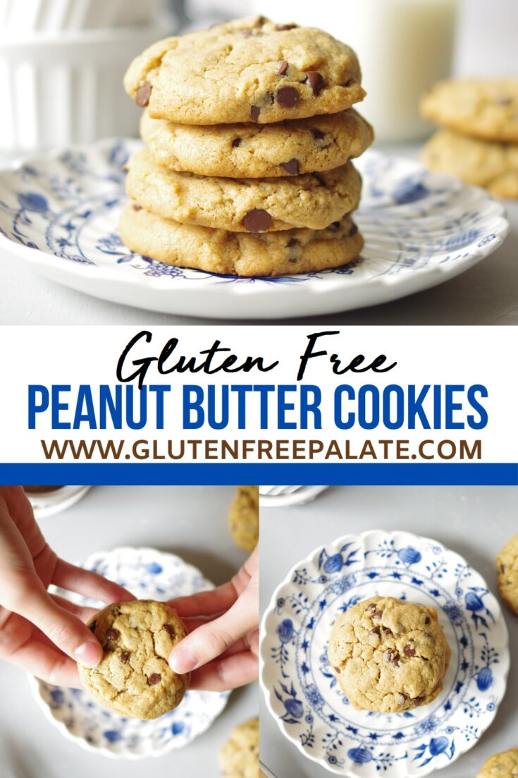 Collage image with stacked cookeis on a plate over words that say gluten free peanut butter cookies, then two more images side by side of cookies on a plate