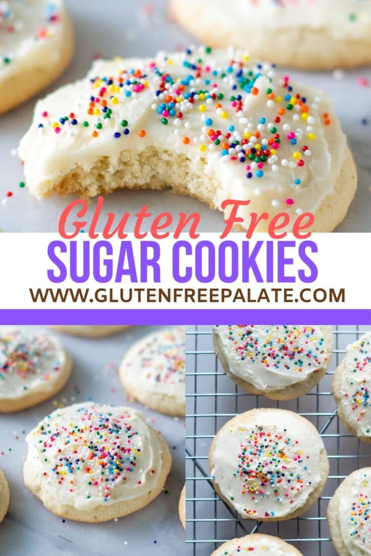 three photos of round cookies with white frosting and colored sprinkles in a collage with the words gluten free sugar cookies in the center