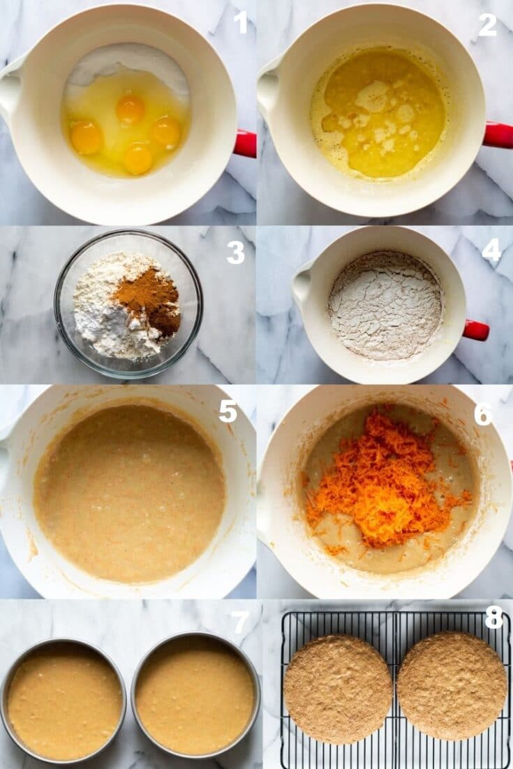 eight numbered images in a collage showing the steps how to make Gluten Free Carrot Cake