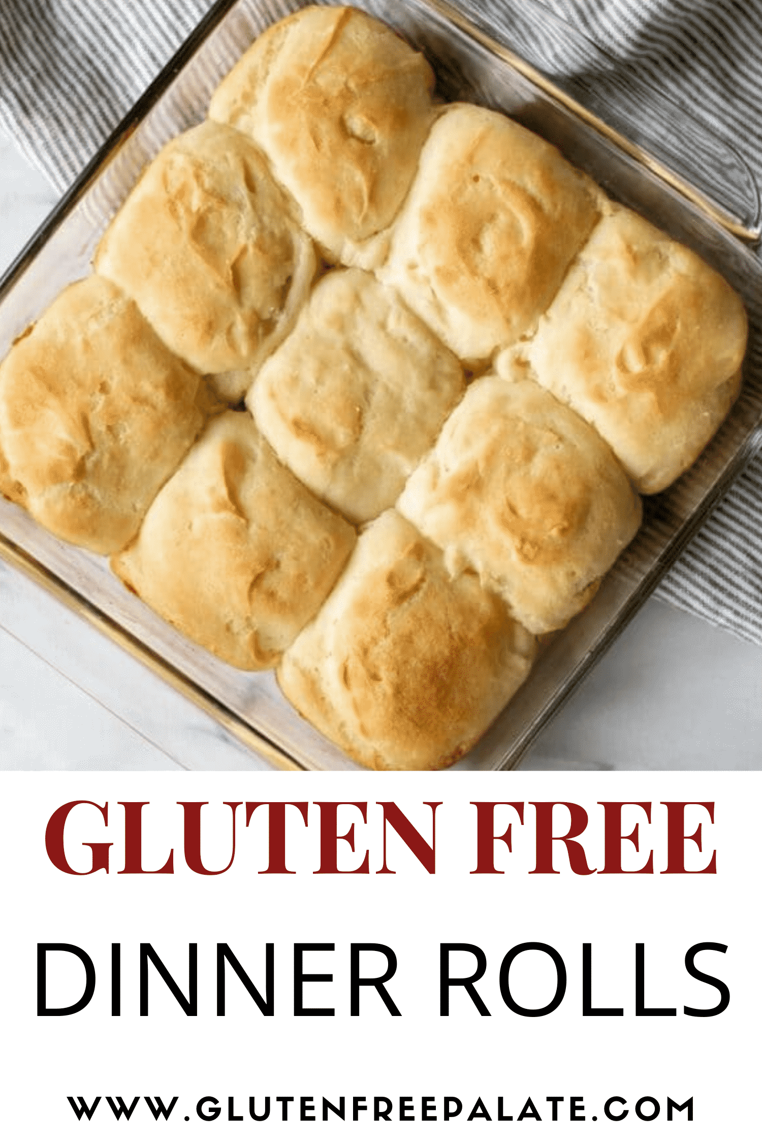 a square pan of 9 gluten free dinner rolls