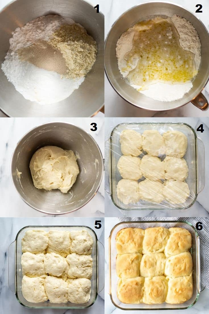 a collage of six photos showing how to make gluten free dinner rolls